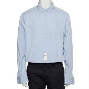 Ermenegildo Zegna Blue Cotton Button Front Shirt XXL