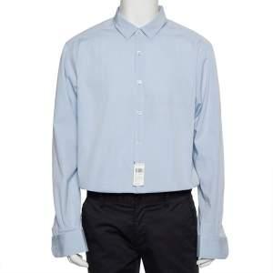 قميص أيرمنجليدو زينيا قطن أزرق بأزرار أمامية مقاس كبير جدًا جدًا - إكس إكس لارج