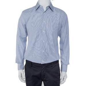 Ermenegildo Zegna Blue Striped Cotton Button Front Slim Fit Shirt M