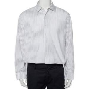 Ermenegildo Zegna White Striped Cotton Button Front Shirt XXL