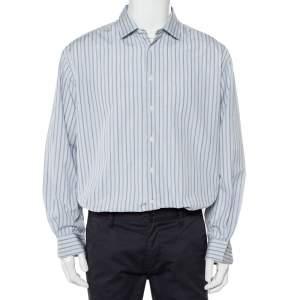 Ermenegildo Zegna Grey Striped Cotton Button Front Shirt XXL