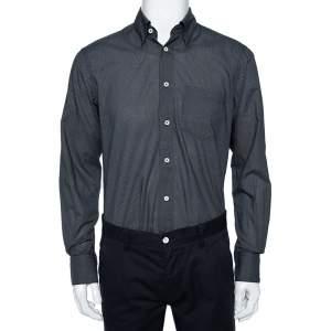 Ermenegildo Zegna Black Dot Printed Cotton Button Front Shirt M