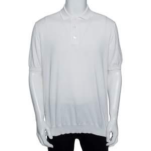 Ermenegildo Zegna White Cotton Knit Short Sleeved Polo Shirt XXL