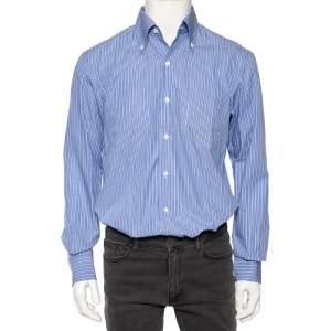 Ermenegildo Zegna Blue Striped Cotton Buttoned-Down Shirt L