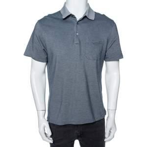 Ermenegildo Zegna Grey Cotton Pique Contrast Collar Detail Polo T-Shirt L