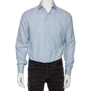 Ermenegildo Zegna Light Blue Check Cotton Button Front Regular Fit Shirt M