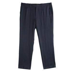 Ermenegildo Zegna Grey Checked Wool Regular Fit Trousers 3XL
