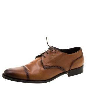 Ermenegildo Zegna Brown Leather Lace Up Derby Oxfords 42