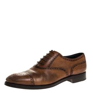 Ermenegildo Zegna Brown Brogue Detail Leather Lace Up Oxfords Size 45