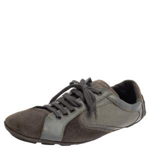Ermenegildo Zegna Grey Leather And Suede Low Top Sneakers Size 44
