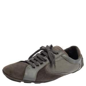 حذاء رياضى ايرمنيجيلدو زينيا منخفض من أعلى سويدى وجلد رمادى مقاس 44