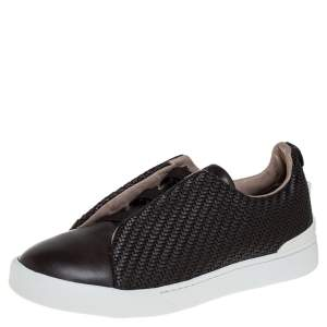 Ermenegildo Zegna Couture Dark Brown Woven Leather Pelletessuta Triple Stitch Slip On Sneakers Size 42.5