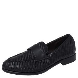 Ermenegildo Zegna Black Woven Leather Loafers Size 40