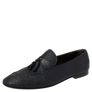 Ermenegildo Zegna Dark Blue Woven Leather Lido Tassel Loafers Size 42
