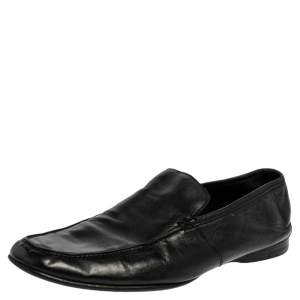 Ermenegildo Zegna Black Leather Slip On  Loafers Size 43.5