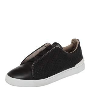 Ermenegildo Zegna Couture Dark Brown Woven Leather Pelle Tessuta Triple Stitch Slip On Sneakers Size 43