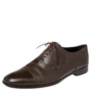 Ermenegildo Zegna Brown Leather Lace Up Derby Oxfords 43.5