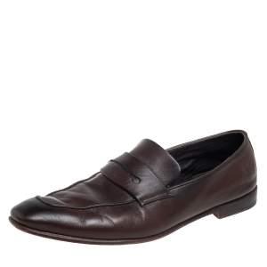 Ermenegildo Zegna Brown Leather Penny Loafers Size 44.5
