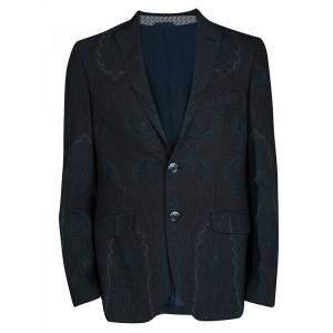 Etro Navy Blue Paisley Printed Wool Blazer M