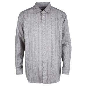 Etro Grey Printed Long Sleeve Button Front Shirt XL