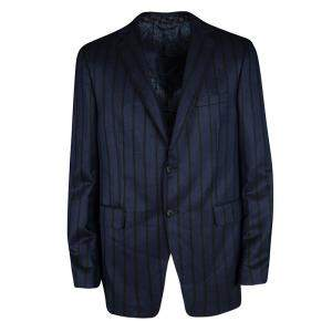 Etro Navy Blue Striped Wool Silk Blend Mineide Regular Fit Blazer L