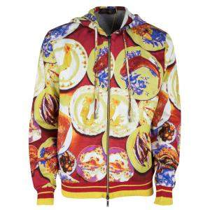 Etro Multicolor Fish Print Print Zip Front Hoodie XL