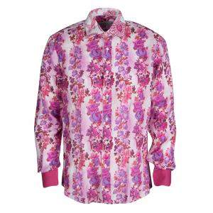 Etro Multicolor Floral Printed Linen Long Sleeve Button Front Shirt L