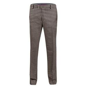 Etro Beige and Brown Wool Gingham Plaid Regular Fit Mexico Trousers M