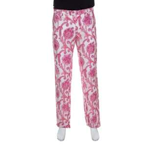 Etro White and Pink Paisley and Floral Printed Linen Mexico Trousers L