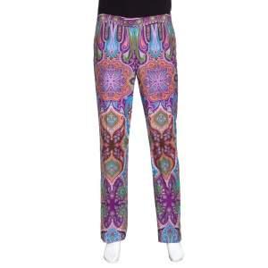 Etro Purple Paisley Printed Cotton Trousers L