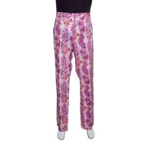Etro Multicolor Floral Printed Linen Straight Fit Pants L