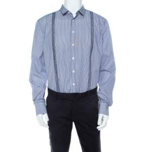 Etro Navy Blue and White Striped Pintucked Embroidered Detail Shirt L