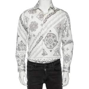 Etro White Floral Paisley Print Cotton Slim Fit Shirt M