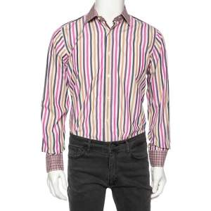 Etro Multicolored Striped Cotton Contrast Collar & Cuff Detail Slim Fit Shirt M