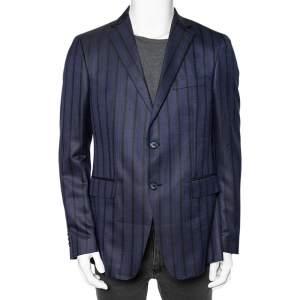 Etro Navy Blue Striped Wool Silk Blend Mineide Regular Fit Blazer L
