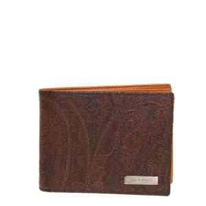 Etro Brown Paisley Print Coated Canvas Bi Fold Wallet