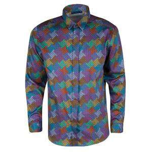 Etro Multicolor Printed Cotton Long Sleeve Button Front Shirt L