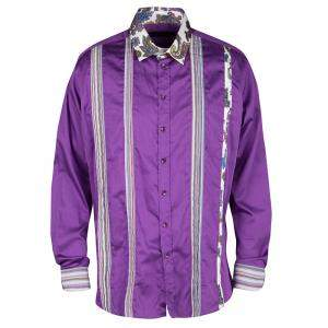 Etro Purple Pleat Detail Long Sleeve Button Front Cotton Shirt L