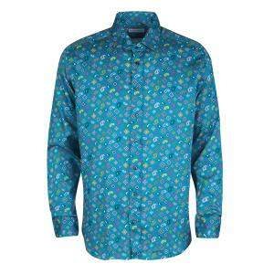 Etro Blue Paisley Printed Cotton Long Sleeve Button Front Shirt L