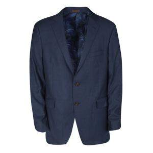 Etro Navy Blue Wool Blend Two Button Blazer XL
