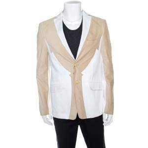 Etro Beige and White Faux Suede Patch Detail Two Button Blazer XL