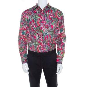 Etro Pink Paisley Printed Cotton Long Sleeve Shirt L