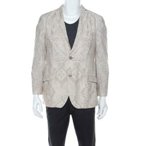 Etro Cream Paisley Printed Cotton Regular Fit Blazer M