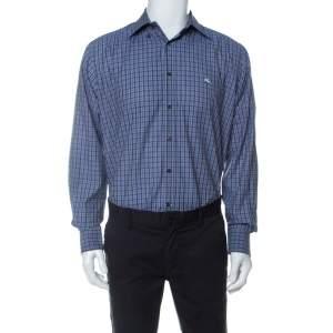 Etro Purple Plaid Checked Cotton Slim Fit Button Down Shirt L