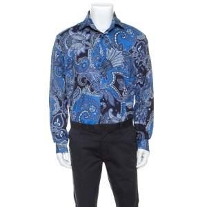 Etro Blue Paisley Print Cotton Shirt 4XL