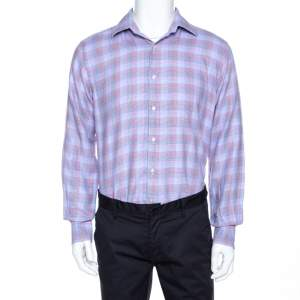 Etro Multicolor Houndstooth Pattern Cotton Long Sleeve Shirt L