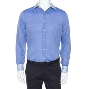 قميص إيترو أكمام طويلة ياقة مطبوع قطن Chambray أزرق M
