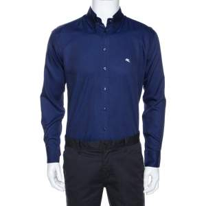 Etro Navy Blue Cotton Long Sleeve Button Down Shirt L