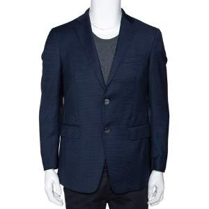 Etro Navy Blue Textured Wool Two Buttoned Blazer M