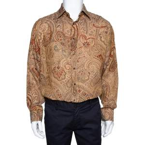 Etro Brown Linen Paisley Print Button Front Shirt XL